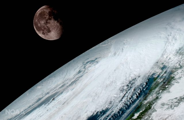 goes-16 earth image, looking at the moon