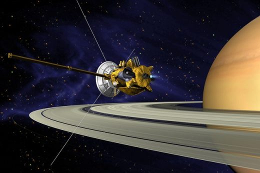 Cassini orbit insertion illustration