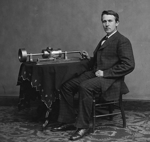 inventor; Thomas Edison with cylinder phonograph