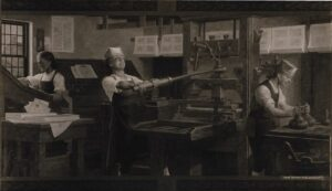 benjamin franklin (center) working with print press
