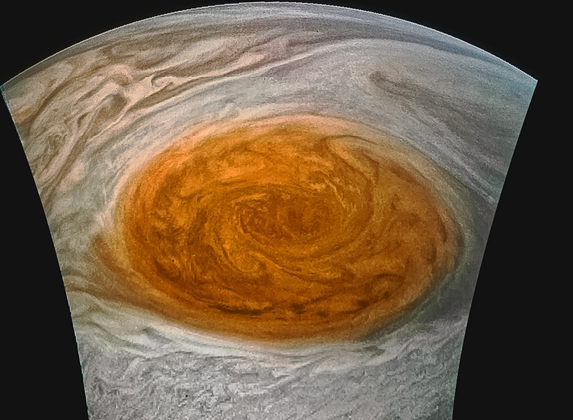 Enhanced Jupiter Red Spot Image from Juno