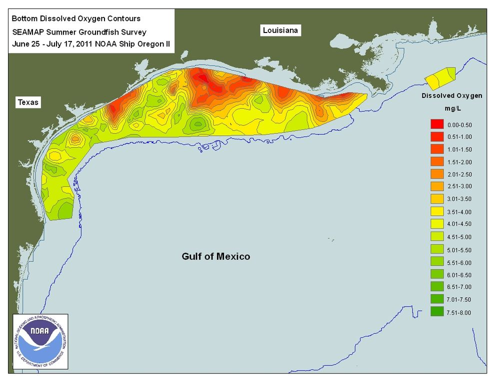 Gulf of Mexico Dead Zone MAP NASA_NOAA