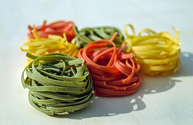 food coloring, noodles